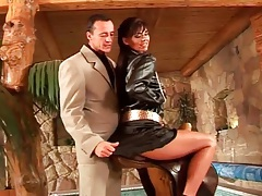 Arousing girl in satin outfit teases the guy tubes
