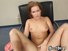 She strips from satin panties to finger her cunt tubes