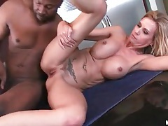 Bimbo milf with fake titties fucked in cunt tubes
