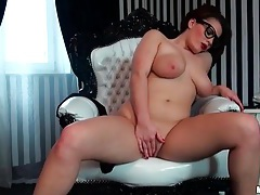 Going down on sexy girl in lipstick and glasses tubes