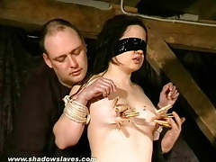 Blindfolded girl in pain during bdsm movie tubes