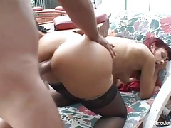 Redhead mature in stockings fucked by big cock tubes