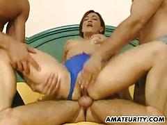 Amateur milf gfets anal fuck and eats cum tubes
