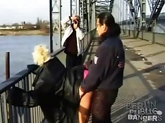 Girl walks on the bridge to have public sex tubes