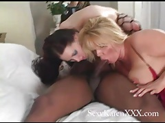 Black cock cums on big sexy titties tubes