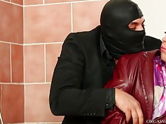 Masked man wants a blowjob in the bathroom tubes