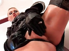 Gloves and skirt on hot slut that rides his cock tubes