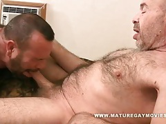 Hairy daddy gets fucked by mature friend tubes
