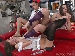 Chicks suck toes and rocco siffredi fucks them tubes