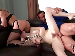 Hardcore sex for submissive in collar tubes