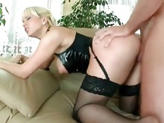 Black latex and stockings on blonde fucked lustily tubes
