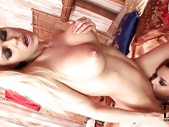 Tongues licking pussy in a lesbian sex video tubes