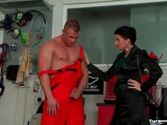 Mechanic submits to mistress and gets a footjob tubes