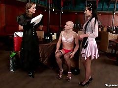 Pretty girls dress bald guy up in lady clothes tubes
