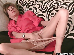 Skinny grandma massages her small tits and rubs her tight pussy tubes