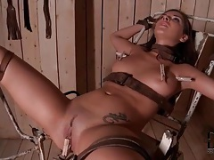 Bound girl flogged on the ass and toy fucked tubes
