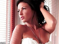 White corset on sexy girl in solo video tubes