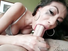 She spits up and gags when sucking dick tubes