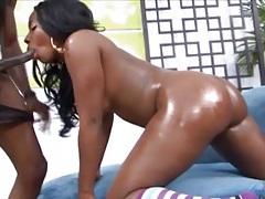 Oiled ass black girl sucks dick lustily tubes