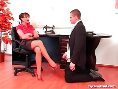 Office girl in satin enjoys dominating coworker tubes