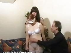 Blindfolded girl in white lingerie fondled lustily tubes