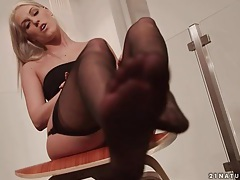 Ballerina in stockings dances gently tubes