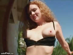 Ruffled panties tease and hot blowjobs with redhead tubes