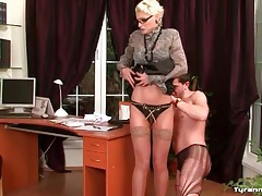 Sub guy in ripped pantyhose spanked by mistress tubes