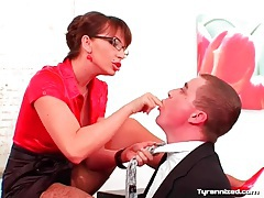 His boss dominates him in the office tubes
