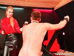 Mistress makes him ride toy and flogs him tubes