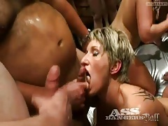 Cumshots and cocks fill up the gangbang video tubes