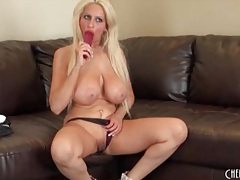 Vibrant blonde with fake tits loves her toys tubes