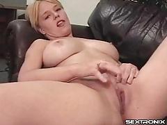 Curvy blonde cutie masturbates her hot box tubes