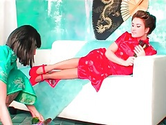 Toe sucking with women in silk dresses tubes