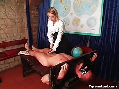 Bound by headmistress and flogged on his chest tubes
