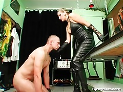 Leather top and tight pants on sexy mistress tubes
