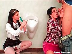 Dominant teacher plays with couple in bathroom tubes