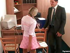 Schoolgirls tie up the teacher in his office tube