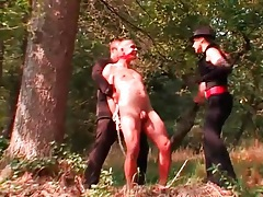 Girl drags her sub guy into the river for rough play tubes