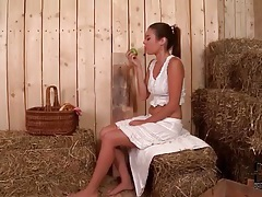 Babe in the barn sucks dick at gloryhole tubes