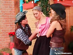 Cowgirls and farm girl in lesbian threesome tubes