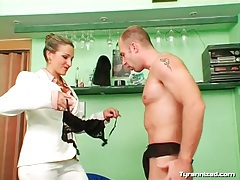 Mistress feminizes him to make him a girl tubes