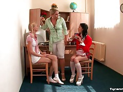 Cute lady teacher abused and bound by schoolgirls tubes