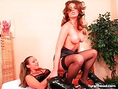 Latex and lingerie on smoking hot strapon mistress tubes