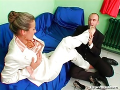 Sucking on toes of sexy girl in satin suit tubes