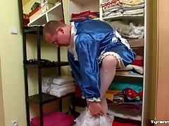 Guy puts on a blue satin french maid dress tubes