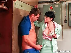 She undoes her blouse and lets him suck her tits tubes