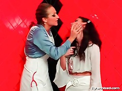 Mistress hoses down a sexy girl as she moans tubes