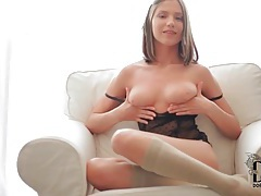 Teen in pretty panties plays with her pussy tubes