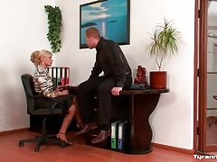 He shows his cock to two sexy girls in office tubes